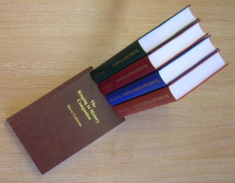 Picture of the five books: The Bellringer's Early Companion, The Bellringer's Bedside Companion, The Method Ringer's Companion, The Bob Caller's Companion and The Ringing in History Companion